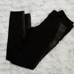 Ann Taylor Loft Black Dress Pants Leather Panel